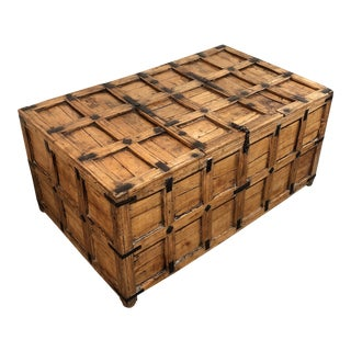 Antique Spanish Shipping Container + Trunk For Sale