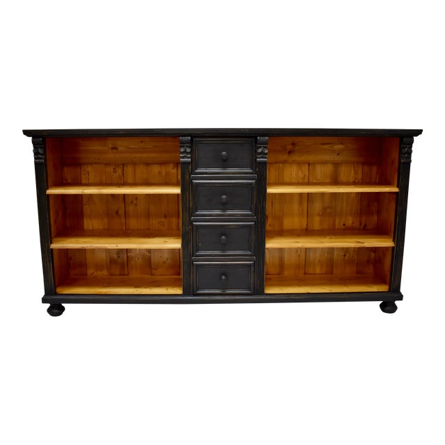 Long Country Pine Bookcase With Four Drawers For Sale