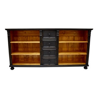 Long Pine Bookcase With Four Drawers For Sale