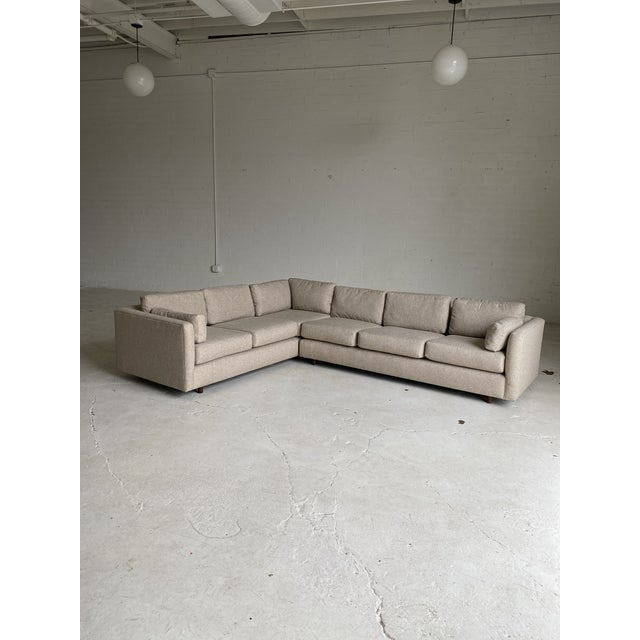 Mid 20th Century Mid Century Newly Upholstered 2-Piece Tan Sectional For Sale - Image 5 of 11