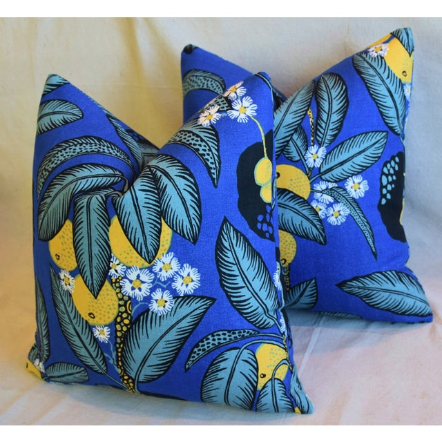 """Black Designer Josef Frank """"Notturno"""" Floral Linen Feather/Down Pillows 18"""" Square - Pair For Sale - Image 8 of 11"""