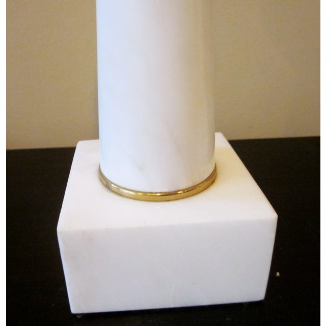 1950s Modernist White Italian Alabaster and Brass Column Boudoir Table Lamps For Sale In Chicago - Image 6 of 12