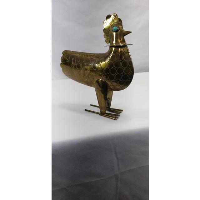 Vintage Brass & Turquoise Chicken Modernist Art Sculpture Oswaldo Guayasamin For Sale - Image 6 of 12