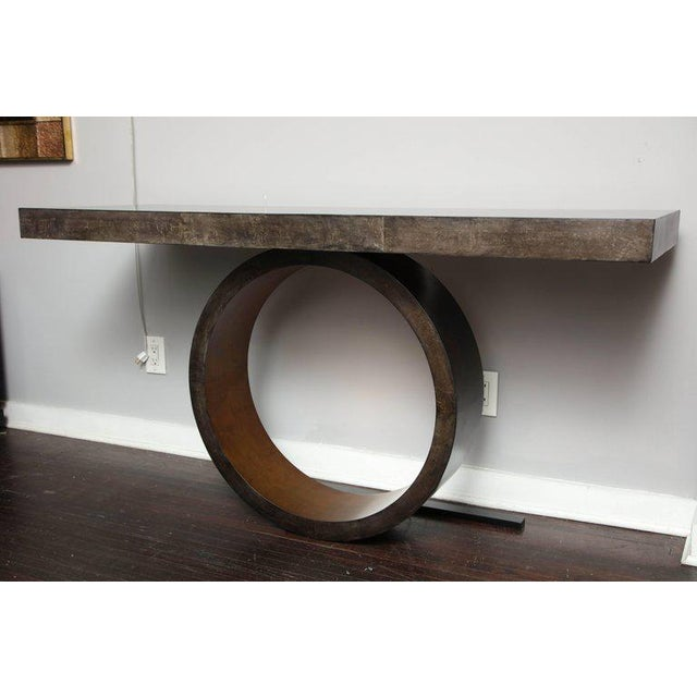 Custom Charcoal Goatskin Console with Umber Gold Leaf For Sale - Image 9 of 9