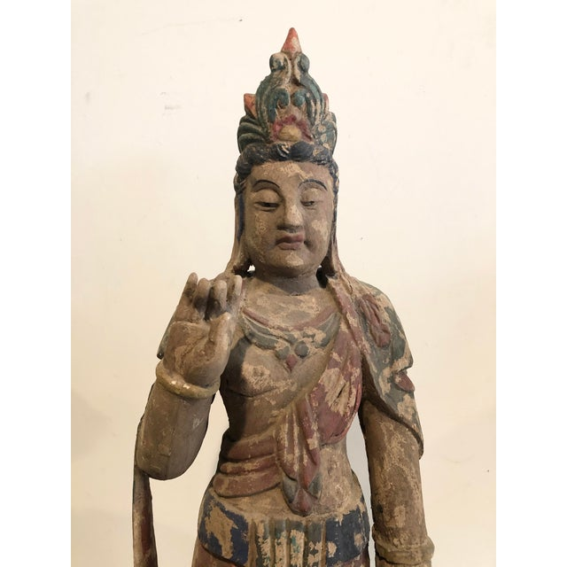 Asian Antique Buddhist Carved Wood Guanyin Figure For Sale - Image 3 of 7