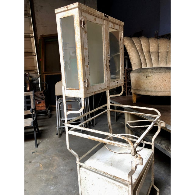 Metal 1930's Vintage American Painted Steel Supply Cabinet For Sale - Image 7 of 11