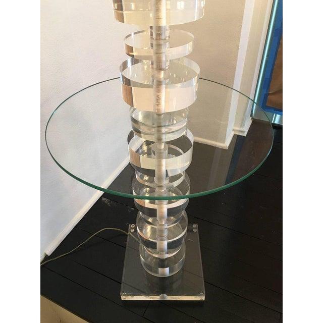 Transparent Vintage Geometric Lucite Floor Lamp For Sale - Image 8 of 11
