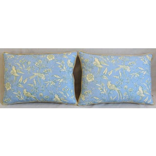 """Scalamandre Aviary Linen & Velvet Feather/Down Pillows 25"""" X 18"""" - Pair Preview"""