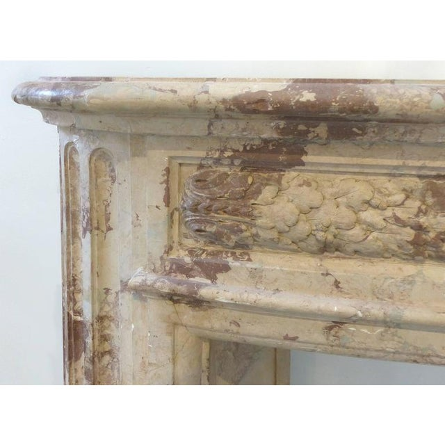 Turn of the Century Italian Terracotta Faux-Marble Fireplace For Sale - Image 4 of 11