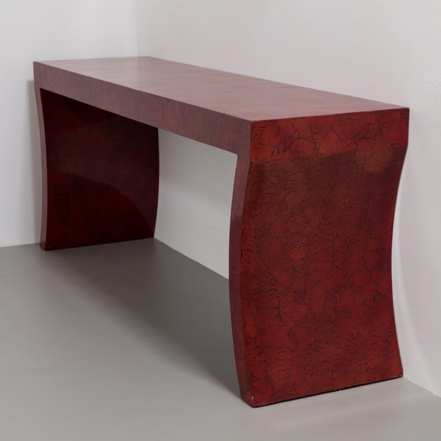 An Impressive Red Crackleware Finished Console and Mirror 1980s For Sale - Image 4 of 9