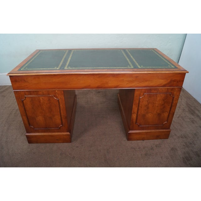 English Yew Wood Leather Top Executive Desk For Sale - Image 5 of 10