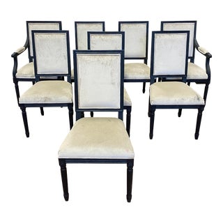 Restoration Hardware Vintage French Square Back Fabric Chairs - Set of Eight For Sale