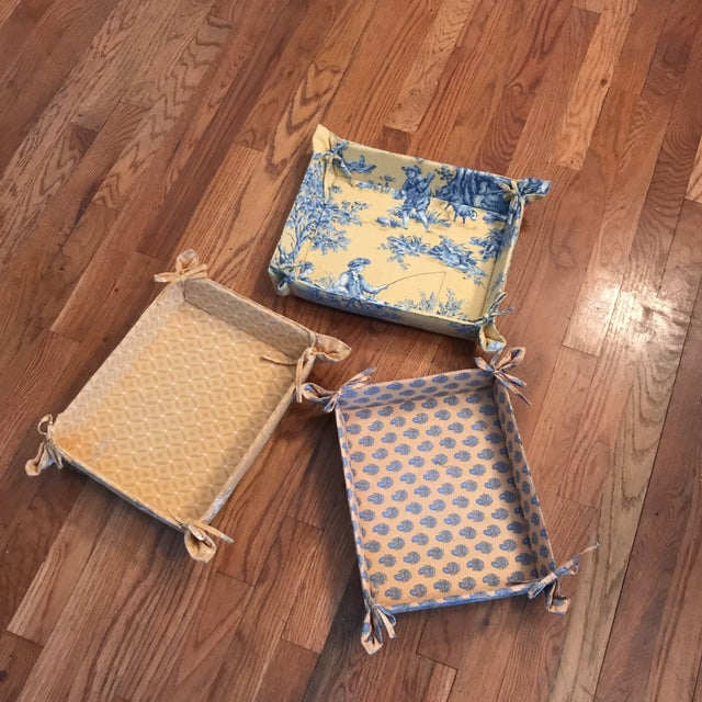 Set of 3 linen French country storage trays with tie sides From Pierre Deux