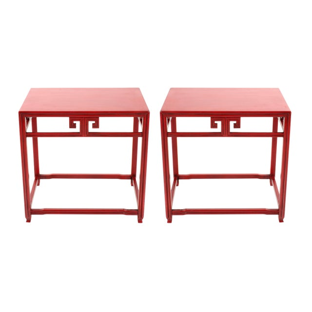 Pair of Michael Taylor for Baker Far East Red Side Tables For Sale