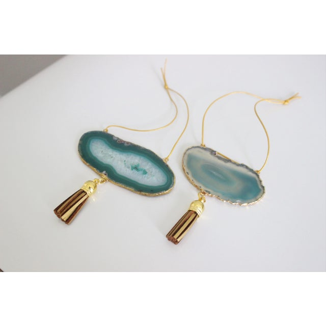 Modern Boho Green Agate Holiday Ornaments - A Pair - Image 3 of 6