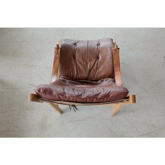 Wood Midcentury Easy Chair Model Hunter by Torbjørn Afdal for Bruksbo, Norway For Sale - Image 7 of 9