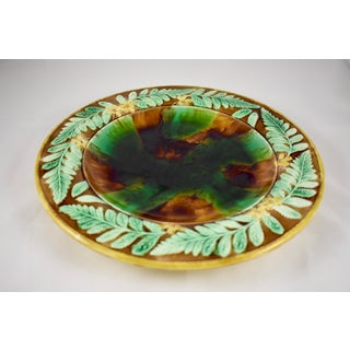 English Majolica Cheese Tray, Tortoiseshell w/ Butter Cup & Fern Leaf Border Preview