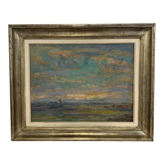 Vintage Landscape Farm Scene Painting For Sale