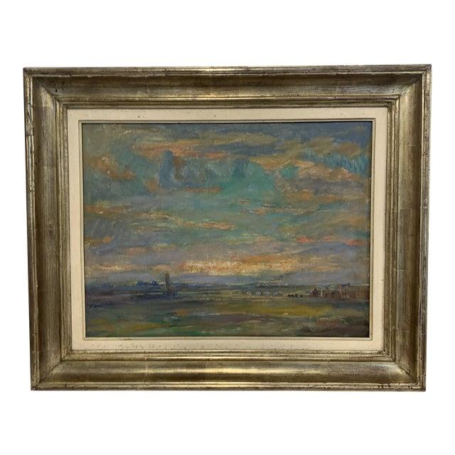 Vintage Landscape Farm Scene Painting For Sale