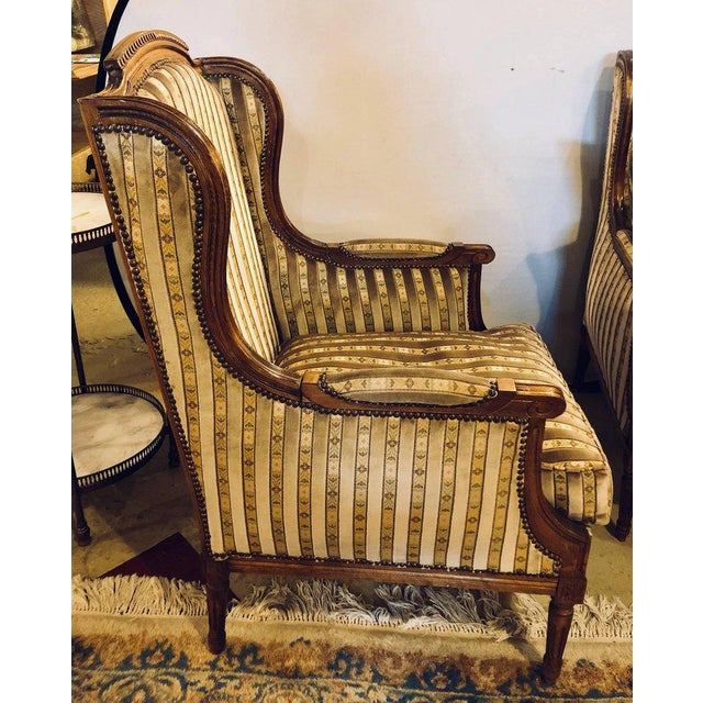Brown Louis XVI Living Room Suite Couch and Two Lounge Chairs For Sale - Image 8 of 14
