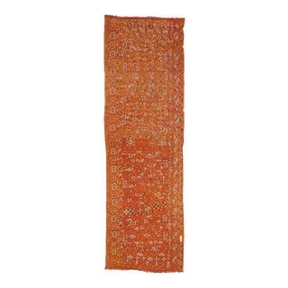 Orange Embroidered Arabi Kilim Runner For Sale