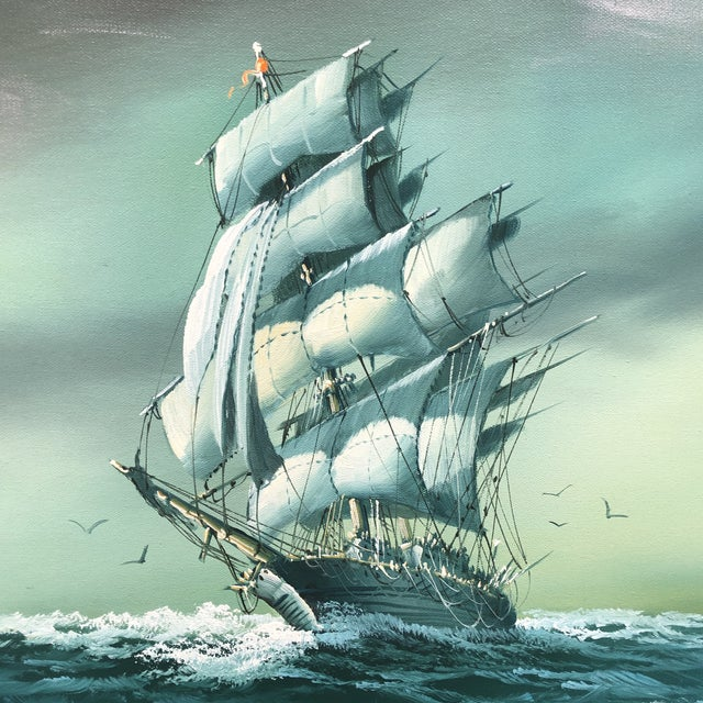 Beautiful and vibrant painting of a ship on canvas. The piece is from the 1970s.