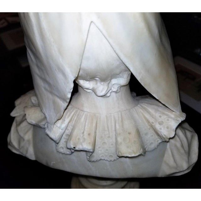 Late 19th Century 19th Century French White Alabaster Bust of Lady in Bonnet For Sale - Image 5 of 13