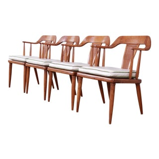 Tomlinson Sophisticate Mid-Century Modern Walnut and Cane Armchairs, Set of Four For Sale