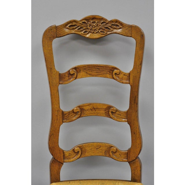 French Country Bernhardt Country French Woven Rush Seat Oak Wood Ladder Back Dining Chair For Sale - Image 3 of 13