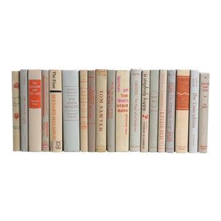 Midcentury Book Set in Tan & Orange - Set of Nineteen For Sale