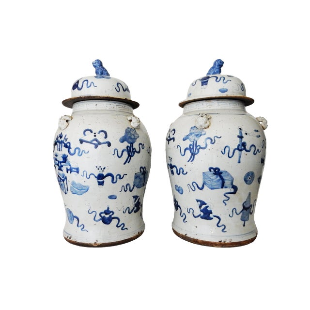 """Ceramic Superb Large Chinoiserie Blue & White Ginger Jars - a Pair 23"""" H For Sale - Image 7 of 8"""