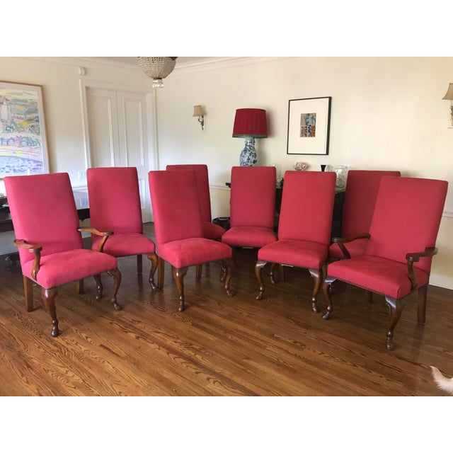 Ralph Lauren Red Fabric Dining Chairs - Set of 8 - Image 2 of 6