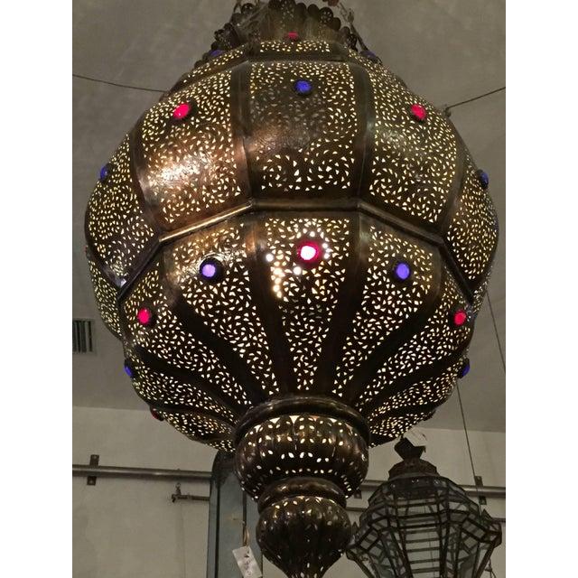 Vintage Moroccan Moorish Brass Chandelier, Alberto Pinto Style For Sale - Image 9 of 10