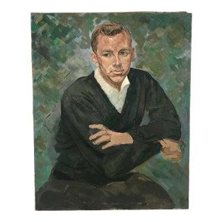 Vintage Portrait Man in Black Sweater Oil on Canvas For Sale