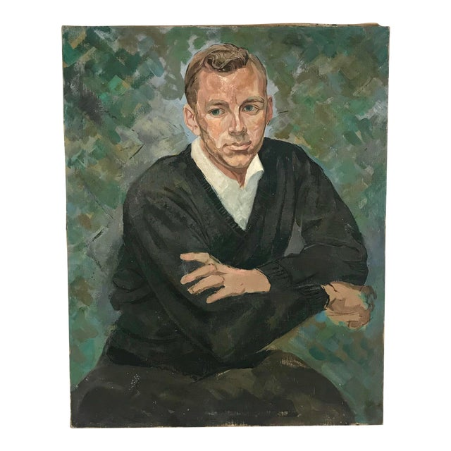Vintage Portrait Man in Black Sweater Oil on Canvas For Sale