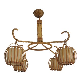 Mid-Century French Bamboo & Wicker Pendant Chandelier For Sale