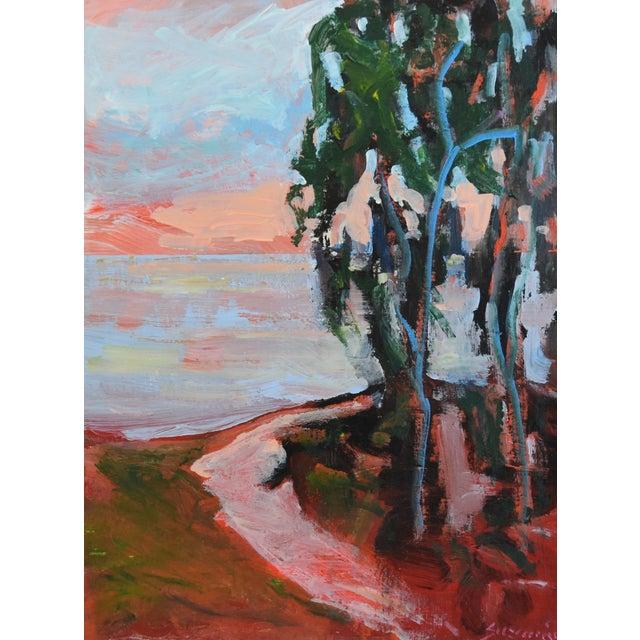 "Vibrant seascape/landscape oil painting on artist canvas panel by California artist Juan ""Pepe"" Guzman-Maldonado (b.1948..."