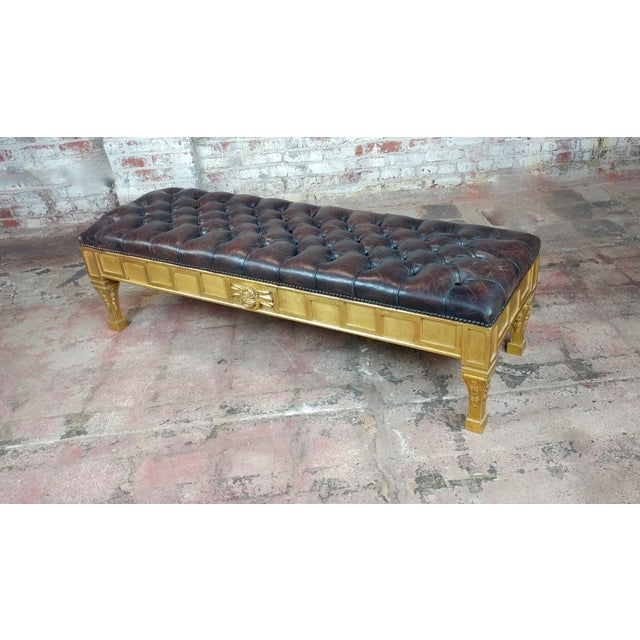 French Empire Beautiful Tufted Leather Window Bench For Sale - Image 9 of 10
