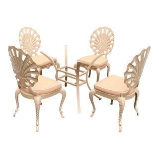 Hollywood Regency Tropitone Shell Back Dining Set - 5 Pieces For Sale