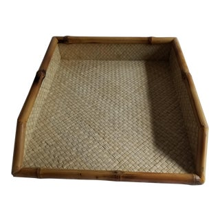Vintage Rattan/Bamboo Desk Letter/Paper Tray For Sale