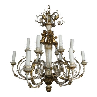 Italian Twelve-Light Rococo Style Cherub Chandelier For Sale