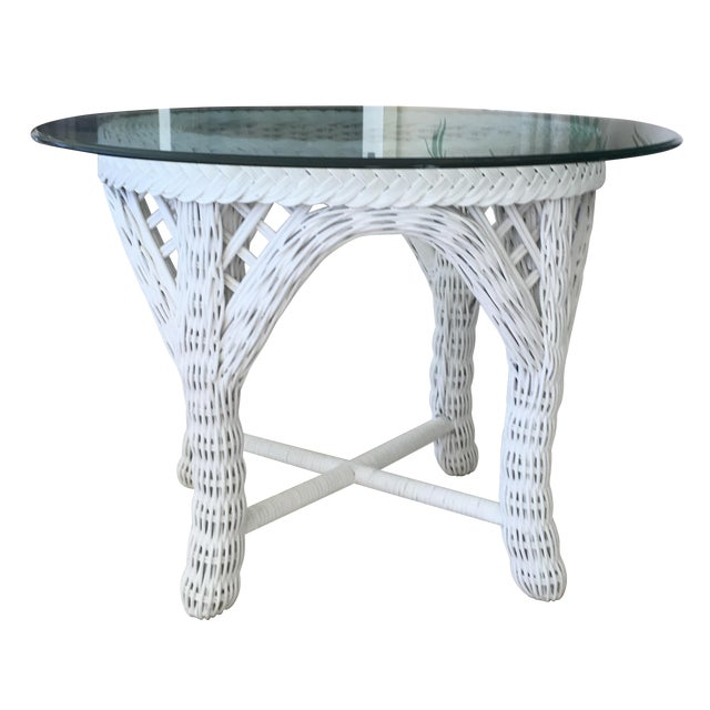 Woodard Outdoor White Wicker End Tables - A Pair For Sale