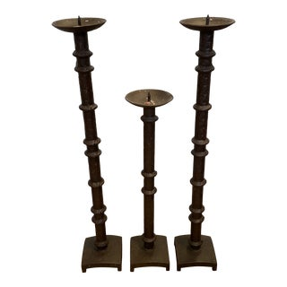 Early 20th Century Iron Candlesticks - Set of 3 For Sale