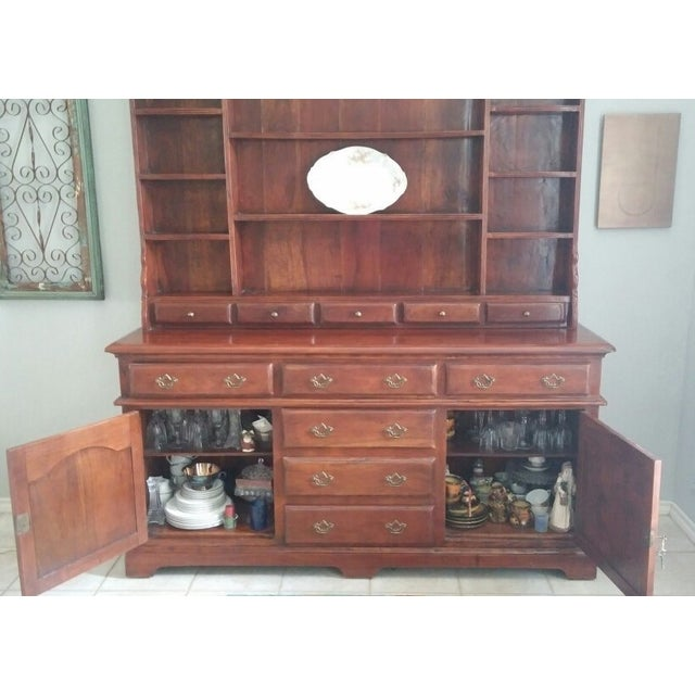 Theodore Alexander Solid Walnut Open China Cabinet - Image 3 of 7