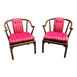 1960s Ming Chairs With Girard Fabric Upholstery - a Pair For Sale