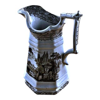 Antique Ironstone Transferware Pitcher For Sale