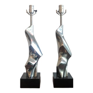 Richard Barr for Laurel Lamp Co. Chrome Sculptural Abstract Torso Table Lamps - a Pair For Sale
