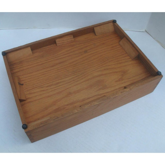 Mid 20th Century Office Desk Wood Letter and Mail Tray Basket For Sale - Image 5 of 7