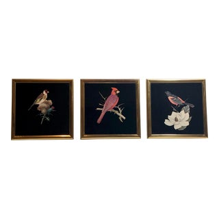 Trio of Small Vintage Back-Painted Glass Bird Themed Artworks Framed in Plated Brass For Sale