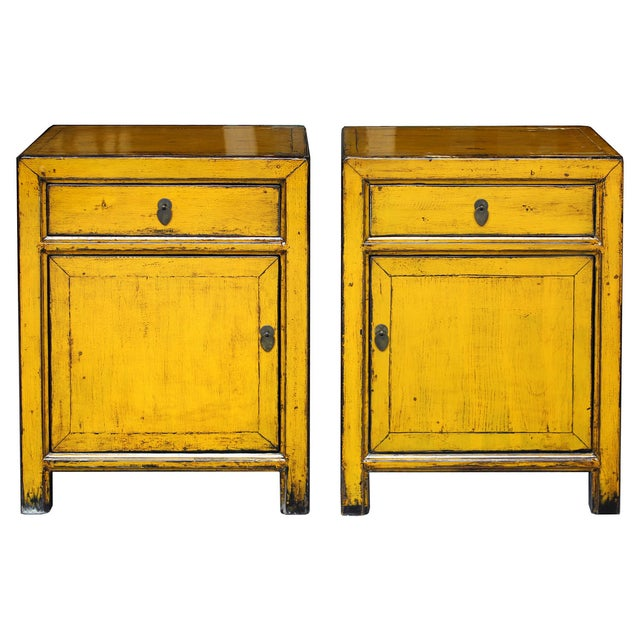 Yellow Side Chests - Pair - Image 1 of 6